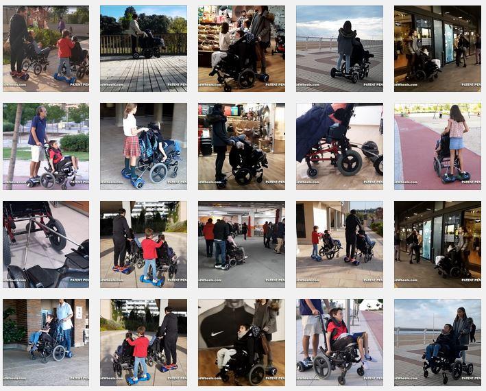 silla de ruedas y hoverboard